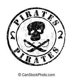 Pirates stamp - Pirates grunge rubber stamp on white...