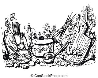 cookery - hand drawn, cartoon, sketch illustration of...