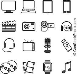 multimedia icon sets - suitable for user interface