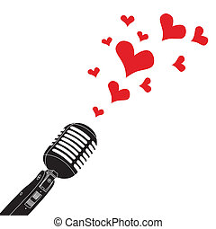 Microphone On Stand - Microphone heart love valentines day...