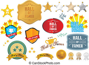 hall of famer badges - vector sets - suitable for user...