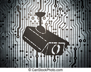 Security concept: circuit board with Cctv Camera - Security...