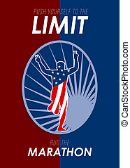 Run Marathon Push Limits Retro Poster