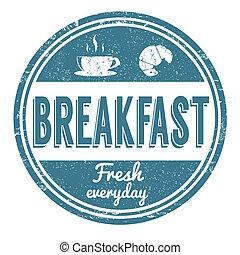 Breakfast stamp - Breakfast grunge rubber stamp on white...