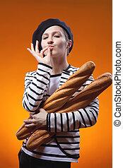 mulher, segurando, baguettes, mostra, gosto, gostosa