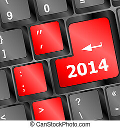 New year concept: 2014 key on the computer keyboard
