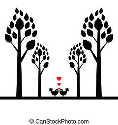 valentine tree isolated on white background