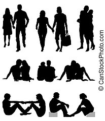Couples in love  - Black silhouettes of couples, vector