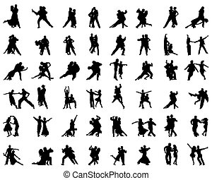 tango - Silhouettes of tango players, vector
