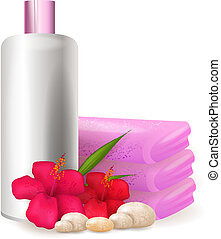 Shampoo bottle with hibiscus flowers - Bottle of shampoo...