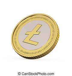 Golden Litecoin coin - Golden Litecoin digital currency coin...