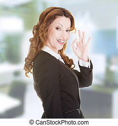 Business woman with perfect gesture - Happy smiling business...