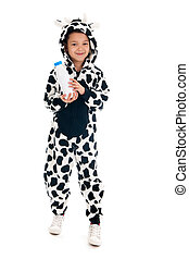 Little boy as cow with bottle of milk - Little boy dressed...