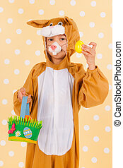 Child as easter hare with eggs - Little child as easter hare...