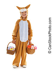 Child as easter hare with eggs and flowers - Little child as...