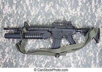 M4A1, carbine, equipado, M203, granada, lançador,...