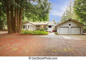 White siding house and garage - One story white northwest...