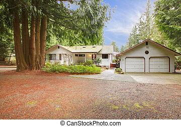 White siding house and garage - One story white northwest...