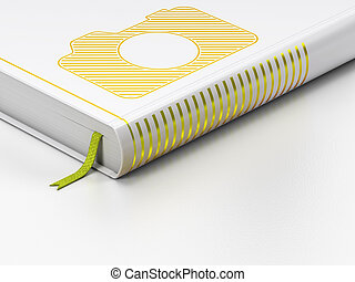 Tourism concept: closed book, Photo Camera on white...