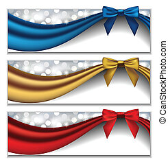 Holidays' Banners - Vector set of three elegant holidays'...