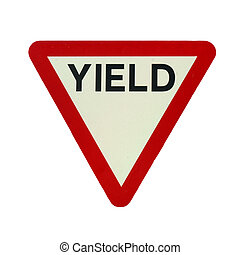 Yield - Give way or yield traffic sign isolated