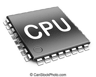 Central Processor unit concept. 3d render isolated on a...