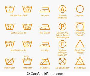 Laundry symbols set - Orange laundry icons