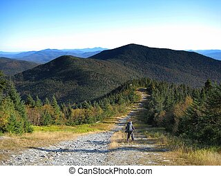 Long Trail in Vermont - Hiker hiking along a ridge along the...