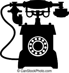 Vintage telephone with mouthepiece handset - Black and white...