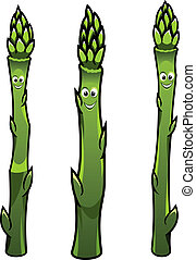 Happy smiling asparagus spears - Cartoon illustration of...