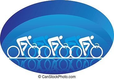Abstract three racing cyclists, isolated on white - Abstract...