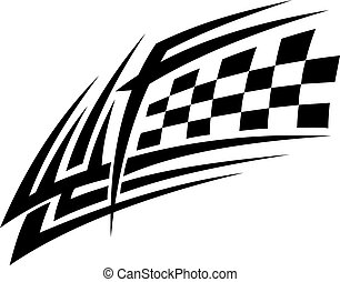 Racing tattoo in tribal style for sports design