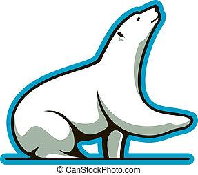 Polar bear - Cartoon illustration of a cute white polar bear...
