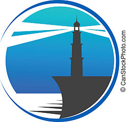 Lighthouse button or icon - Circular blue lighthouse button...