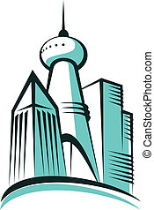 Modern city with a communications tower - Stylized cartoon...