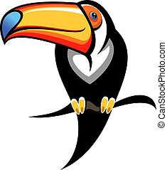 Colourful toucan on a branch - Cartoon illustration for kids...