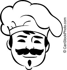 Smiling chef with a moustache - Smiling chef wearing a...
