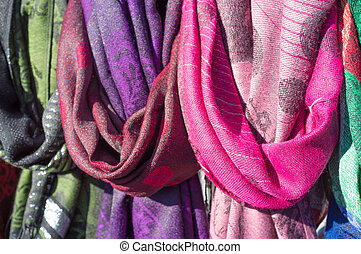 Scarves - Colorful scarves for sale on a street market stall...