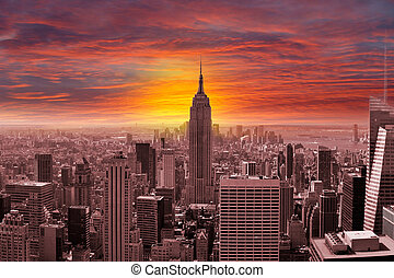 New York City Skyline with a Sunset - A panorama of New York...