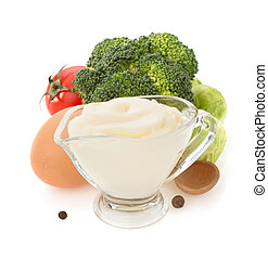 mayonnaise sauce on white background - mayonnaise sauce in...