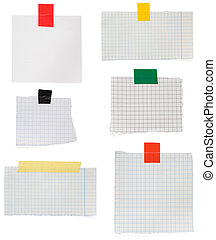checked note paper and adhesive tape - checked paper and...