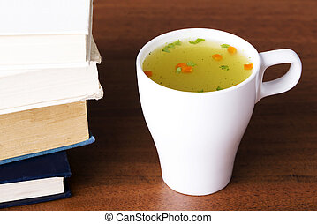 Hot vegetable soup in a cup - Hot vegetable soup in a cup on...