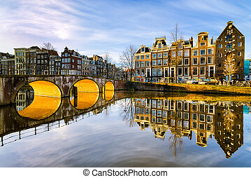 Sunny morning in Amsterdam - Sunny morning on a canal in...