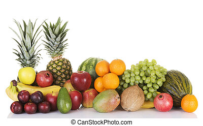 Fresh fruits composition. Isolated on white.