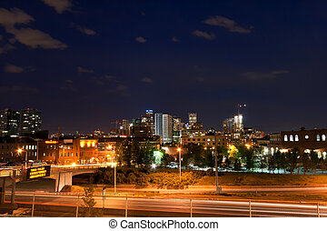 Downtown Denver Colorado at Night - DENVER, COLORADO -...