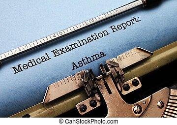 relatório,  -, médico, asma
