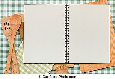 Recipe Backdrop Green Gingham - Double page spread blank...