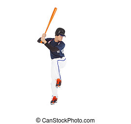 Baseball player ready to hit with bat on the side.