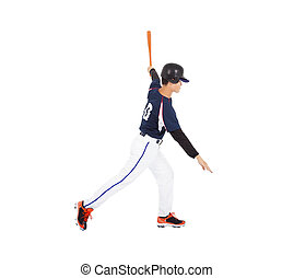 Baseball player hitting ball  with bat on the side.