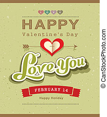 Happy Valentine message banner design on recycled paper...